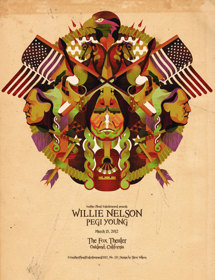 Steve Wilson: Willie Nelson - Artist Steve Wilson was commissioned by the team at Another Planet Entertainment to create this poster for Willie Nelson's show…