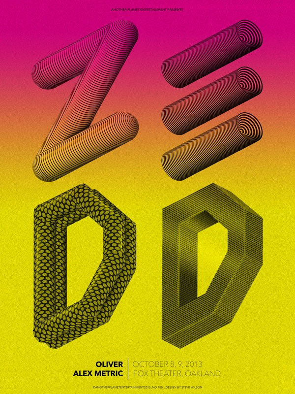 Steve Wilson: Zedd - Yet another brilliant gig poster by Steve Wilson, this time for electronic music producer and DJ, ZEDD. Steve has designed four…