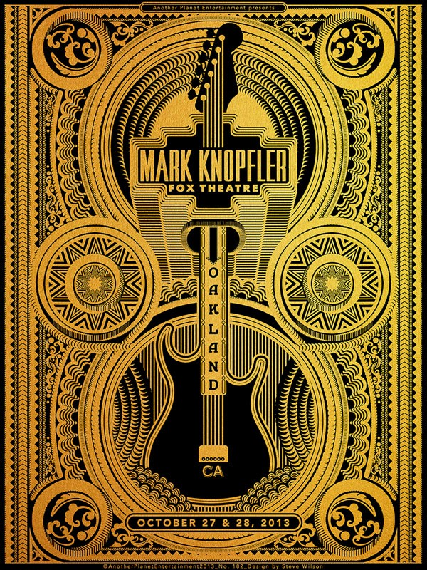 Steve Wilson: Mark Knopfler - Steve Wilson designed this one-color screen print on goldcommissioned by Another Planet Entertainment for Mark Knopfler's October performances…