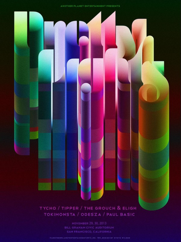 Steve Wilson: Pretty Lights - Steve Wilson created this mesmerizing gig poster for the Pretty Lights performance in San Francisco last week at the Bill…