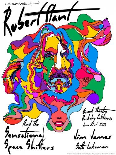 Steve Wilson : Robert Plant - A beautiful new gig poster designed by Steven Wilson for Robert Plant's show at the Greek Theatre in CA. We…