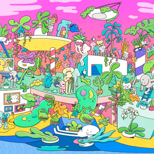 Brosmind: Facebook's House Plant Hobbyist - Illustration duo Brosmind were commissioned by Facebook to create a 360 illustration for the Facebook App House Plant Hobbyist Facebook group.